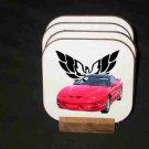 New Red 2000 Pontiac Trans AM Hard Coaster set!
