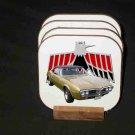 New Gold 1967 Pontiac Firebird Convertible Hard Coaster set!