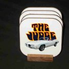 New 1970 White Pontiac GTO Judge Convertible Hard Coaster set!
