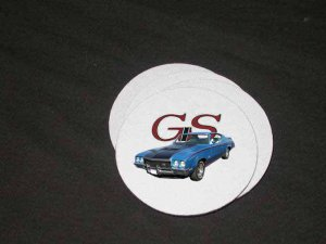 New 1971 Blue Buick Gran Sport  Soft Coaster set!!