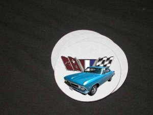 New Blue 1966 Chevy Chevelle w/flags Soft Coaster set!!