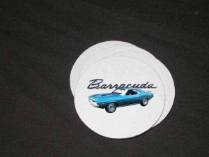 New Blue 1970  Plymouth Barracuda Soft Coaster set!!