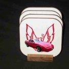 New 1989 Red Pontiac Trans AM GTA Hard Coaster set!