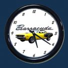 New Yellow 1971 Plymouth Barracuda Wall Clock