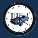 New Blue 1969 Mustang Mach 1 Wall Clock