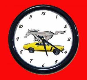 New Yellow 1970 Mustang Wall Clock