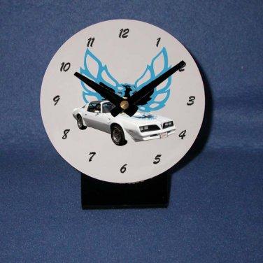 New White and Blue 1978 Pontiac Firebird Trans AM desk clock!