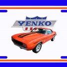 NEW 1969 Orange Chevy Yenko Camaro w/Yenko Logo License Plate FREE SHIPPING!