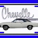 NEW 1966 White Chevy Chevelle w/ Chevelle Logo License Plate FREE SHIPPING!