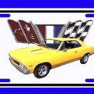 NEW 1966 Yellow Chevy Chevelle w/ Flag Logo License Plate FREE SHIPPING!