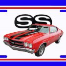 NEW 1970 Red w/Black Chevy Chevelle SS w/ SS Logo License Plate FREE SHIPPING!