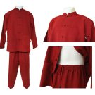 Men's Chinese Style PJ's, Red, Sm
