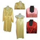Sirisha Satin Silk Robe/Slip, ST, Lemon, XL