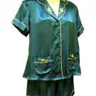 Sirisha Women's Satin Silk Shorty PJ's - Teal, XXL