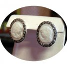 Cameo Earrings, Sterling Silver/Mother Pearl/Marcasite