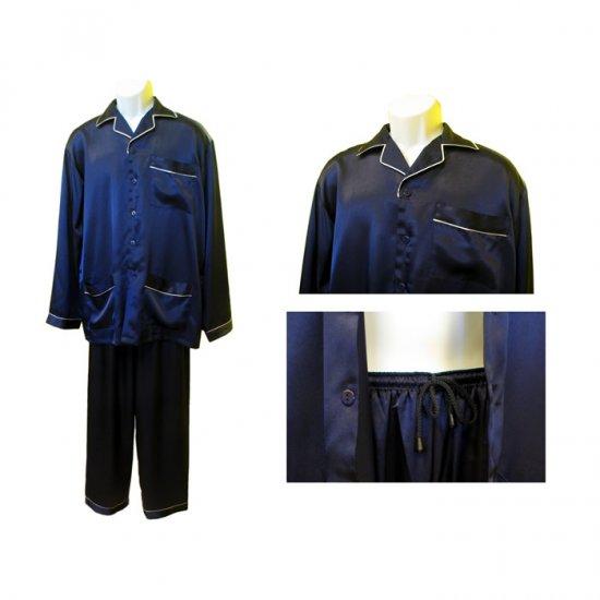 Sirisha Men's Classic Satin PJ's, G2, Midnight Blue, Lg