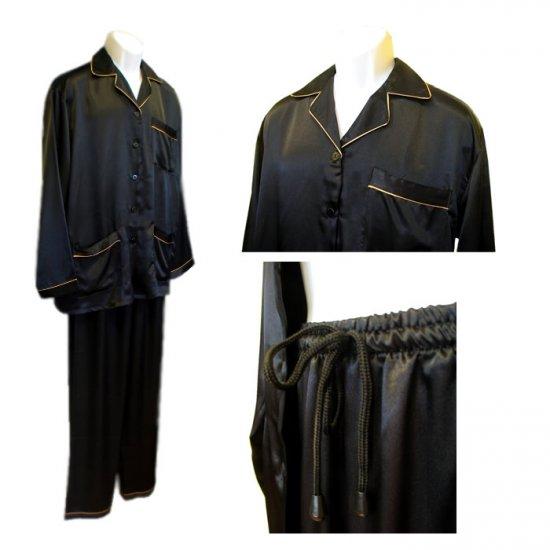 Sirisha Men's Classic Satin PJ's, G2, Black/Gold, XL