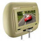 7 Inch LCD Car Headrest DVD Player + FM Transmitter -Pair -Tan New