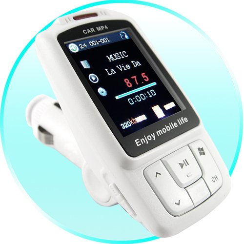 Car MP3 MP4 Player with FM Transmitter (White) New