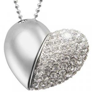 8GB USB Flash Drive Necklace - Jeweled Metal Heart New