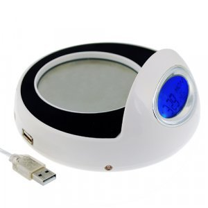 Cup Warmer and USB Hub with Clock � 5 New