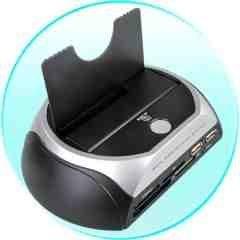 SATA Hard Drive Docking Station + Multi-Format Card Reader New
