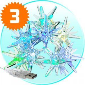 Crystal Sparkling Stars - Holiday Color Lights x3 New