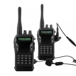 Professional Walkie Talkie Set w/ Earpiece and T Fingerbutton New