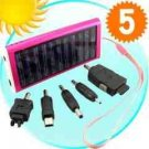 Solar Battery Charger for Phones, Cameras, USB Devices (Pink) x 5 New