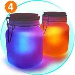 Moon Jar - Solar Power LED Mood Light x4 New