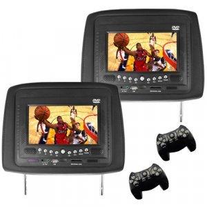Car Headrest DVD Player/Game System Black (pair) - 7 Inch New