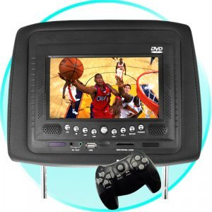 Car Headrest DVD Player/Game System Black (single) - 7 Inch New