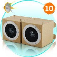 Green Speaker Set - Box Desktop Stereo Speakers (2 x 2W) New