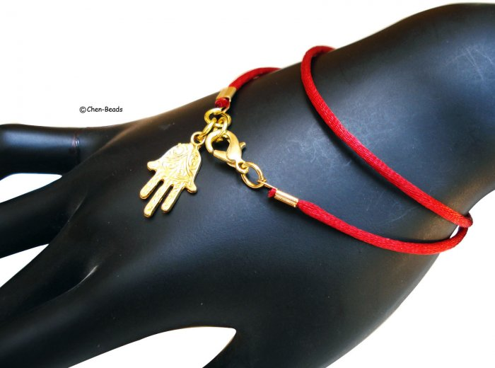Hamsa with double wrapped red string KABBALAH Judaica bracelet