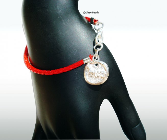 SILVER plate S.A.L coin with red leather bracelet Kabbalah Judaica