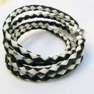 BOLO LEATHER black and white braid wrap bracelet