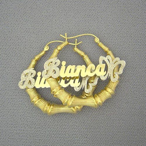 14K Personalized Butterfly Name Bamboo Earrings 1 3/8 Inch GB53B
