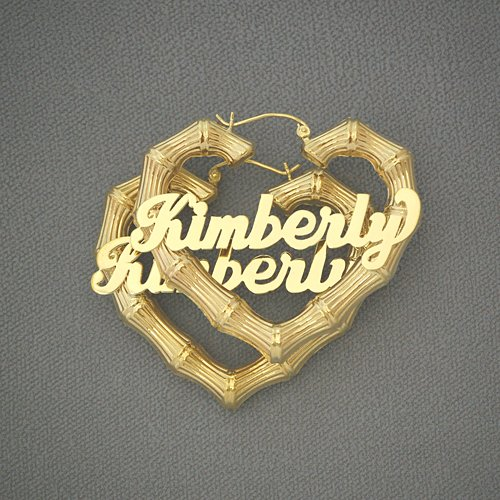 10K Gold Personalized Name Heart Bamboo Earrings 2 Inch HB22