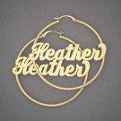 Personalized 14K Gold Name Hoop Earrings 2 Inch GH016N