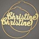 14K Gold Personalized Name Hoop Earrings 2 1/2 Inch GH019N