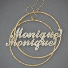 "14K Personalized Iced Name 2mm Dangling Hoop Earrings 2 3/4"" GH058"