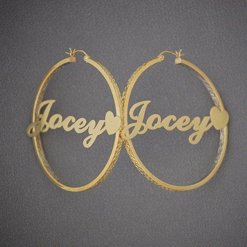 10kt Personalized Heart Name Diamond Cut 2 Tone Hoop Earrings 2 Inch