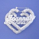 "Personalized Silver Heart Bamboo Butterflies Name Earrings 2 1/4"" SB44"