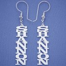 Personalized Silver Vertical Dangling Name Earrings Big Size SI22