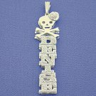 Silver 3D Double Plate Personalized Name Pendant Necklace SD27