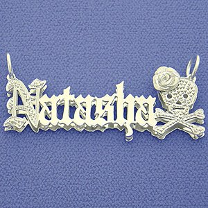 Silver 3D Double Plate Personalized Name Pendant Necklace SD28