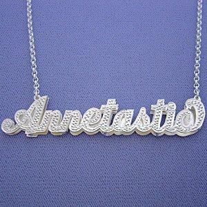 Large Size Silver Pendant Double Cursive 3D Name Necklace SD50