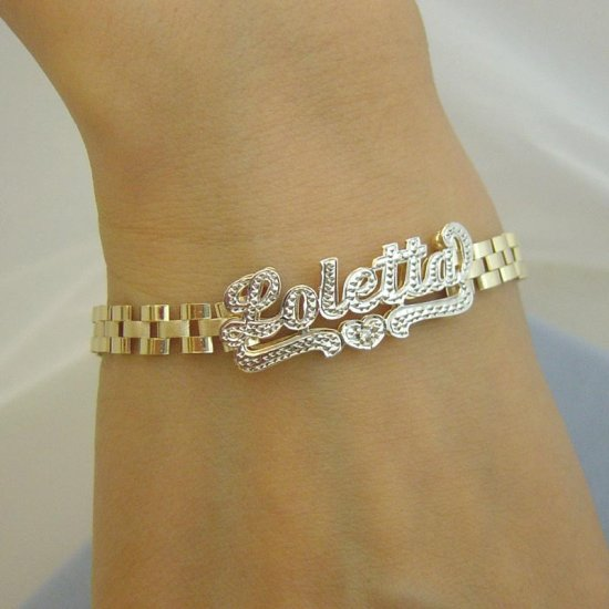 Personalized 10K Solid Gold Name 6mm Bracelet Iced 3D Double Plates