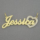 Personalized Gold Name Heart Pendant Necklace NT31