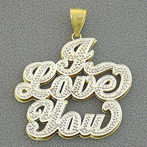 10kt Gold Quot I Love You Quot Double Plate Diamond Pendant